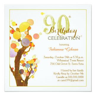 """90.a fiesta de cumpleaños de los árboles invitación 5.25"""" x 5.25"""""""