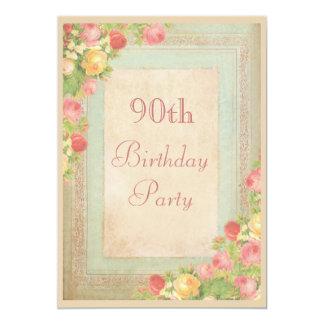 90.a fiesta de cumpleaños de los rosas elegantes invitaciones personalizada