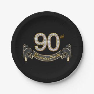 90.a fiesta de cumpleaños del diamante negro del platos de papel