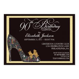 90.a invitación del cumpleaños del zapato floral