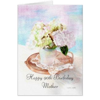 90.a madre feliz del cumpleaños tarjeta de felicitación