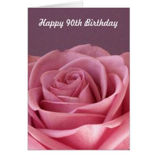 90.a tarjeta de cumpleaños color de rosa