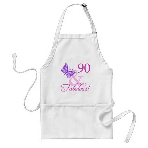 90 And Fabulous Birthday Gifts (Plum) Apron