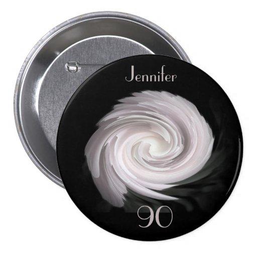 90 años, pálidos - Pin rosado del botón del remoli