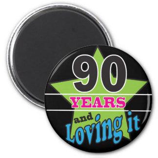 90 años y amor de él 90.o cumpleaños del | imán redondo 5 cm