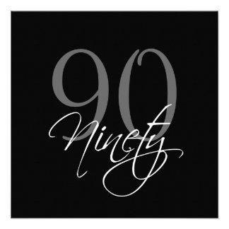 90.as invitaciones del cumpleaños del gris negro f anuncio