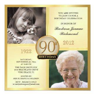 90.as invitaciones del cumpleaños del oro entonces comunicado personal