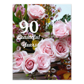 90 Beautiful Years!-Birthday Party/Pink Roses Custom Announcement