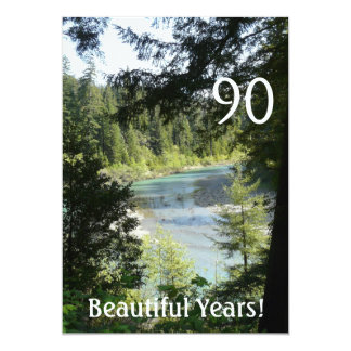 90 Beautiful Years!-Birthday+Woodland Lake 5x7 Paper Invitation Card