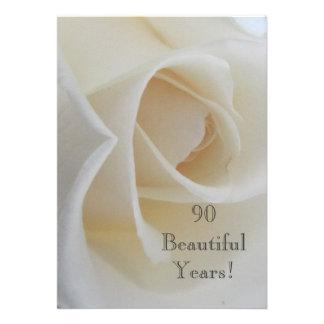 90 BeautifulYears Birthday Celebration/White Rose Custom Invitation