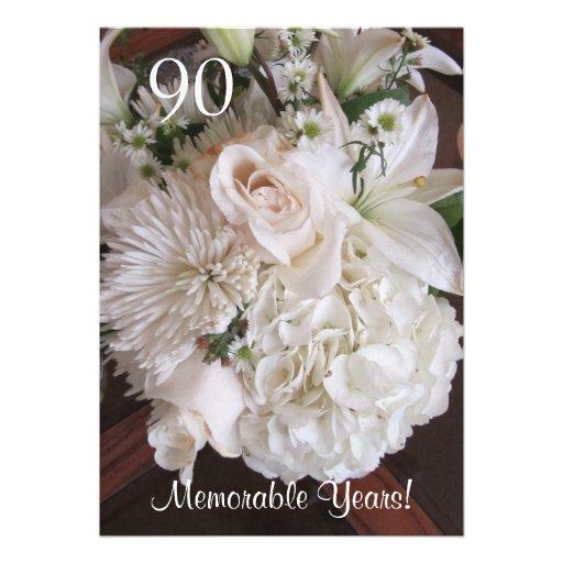 90 Birthday Celebration/Elegant White Floral Personalized Invite