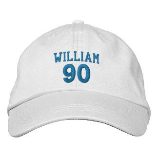 90 Birthday Custom Name BLUE Embroidery V01E Embroidered Baseball Cap