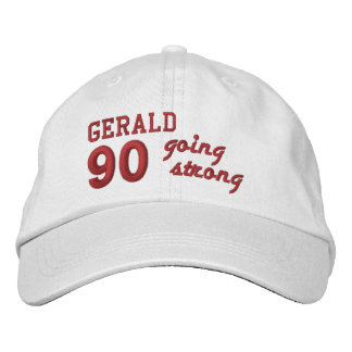 90 Birthday Going Strong WHITE and RED V01F5 Embroidered Baseball Hat