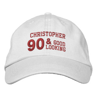 90 Birthday Going Strong WHITE and RED V01F6 Embroidered Baseball Cap