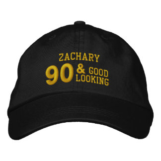 90 Birthday Good Looking BLACK and GOLD V01F6B Embroidered Hat