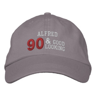 90 Birthday Good Looking GRAY WHITE RED C02 Embroidered Hat
