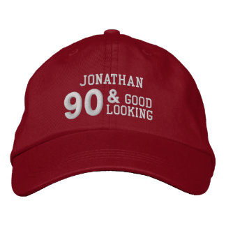 90 Birthday Good Looking RED and WHITE V01F6A Embroidered Baseball Cap