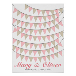 90 Bunting Blush Pink Wedding Guest Book Poster