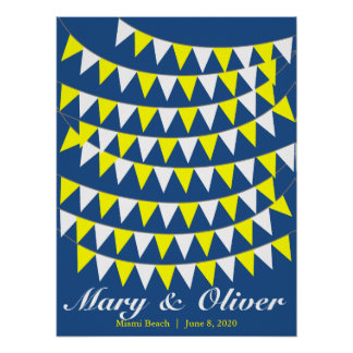 90 Bunting Yellow Wedding Guest Book Alternative