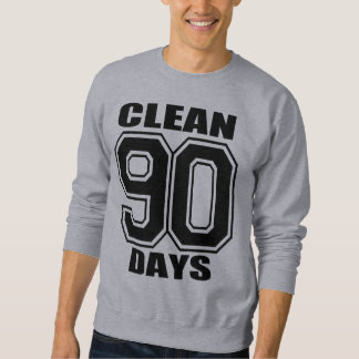 90 days  clean black on gray sweatshirt