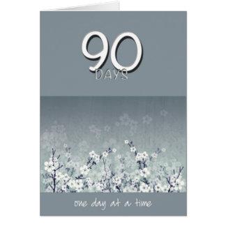 90 Days Sober Clean Flowers Birthday Card