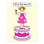 90 es el nuevo humor del cumpleaños de la edad de postales