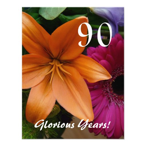 90 Glorious Years!-Birthday Party/Orange Lily Personalized Invites
