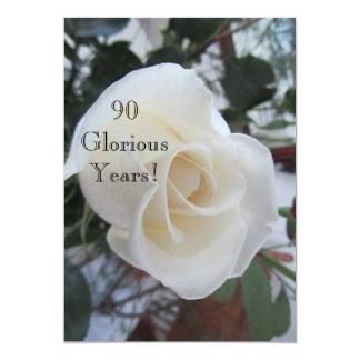 90 GloriousYears!-Birthday Celebration/White Rose Card
