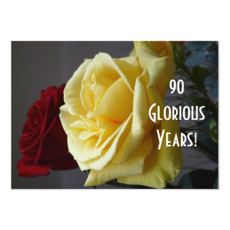 90 GloriousYears!-Birthday/Yellow Rose(with quote) Card