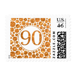 90 In Gold - 90th Birthday Party Stamp