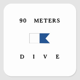 90 Meters Alpha Dive Flag Square Sticker