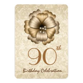 "90.o Arco A1C de la flor del oro de la fiesta de Invitación 5"" X 7"""