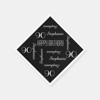 90.o blanco del negro del nombre de la fiesta de servilleta de papel