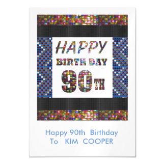 90.o cambio del cumpleaños o msg felices 90 del invitaciones magnéticas