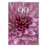 90.o Corazón Cumpleaños-Floral+Crisantemo Tarjeta