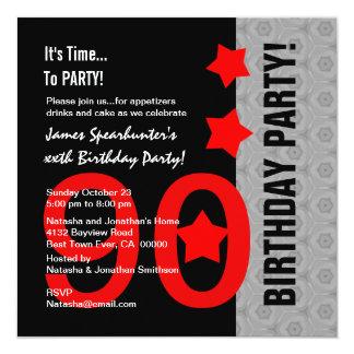 """90.o Cumpleaños A04A divertido negro de plata rojo Invitación 5.25"""" X 5.25"""""""
