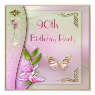 """90.o cumpleaños atractivo de la llave, de la invitación 5.25"""" x 5.25"""""""