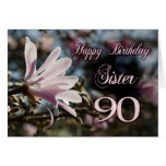 90.o cumpleaños de la hermana con la magnolia tarjeta de felicitación
