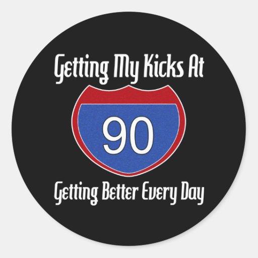 90.o cumpleaños de la ruta 66 etiquetas redondas