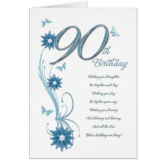 90.o cumpleaños en trullo con las flores y la tarjeta de felicitación