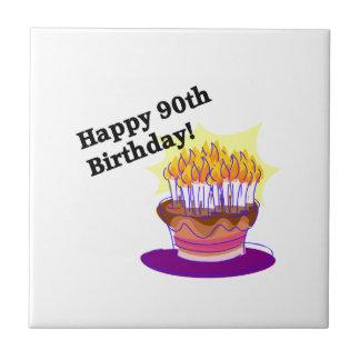 ¡90.o cumpleaños feliz! azulejo cuadrado pequeño
