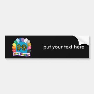 90.o cumpleaños feliz con los globos etiqueta de parachoque
