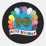 90.o cumpleaños feliz con los globos etiqueta