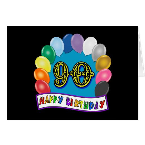 90.o cumpleaños feliz con los globos tarjeta de felicitación