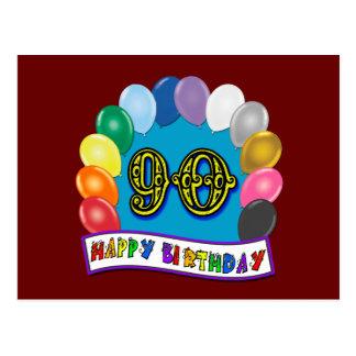 90.o cumpleaños feliz con los globos postal