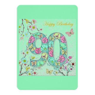 """90.o cumpleaños feliz invitación 5"""" x 7"""""""