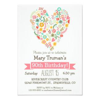 """90.o Cumpleaños, fiesta de cumpleaños floral linda Invitación 5"""" X 7"""""""