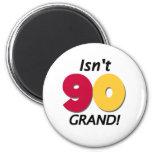 90.o cumpleaños magnífico imán redondo 5 cm