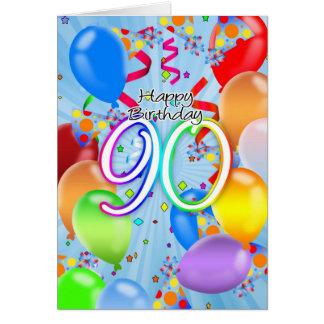 90.o cumpleaños - tarjeta de cumpleaños del globo