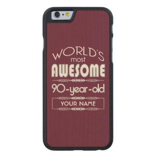 90.o Del cumpleaños de los mundos marrón rojo Funda De iPhone 6 Carved® De Arce